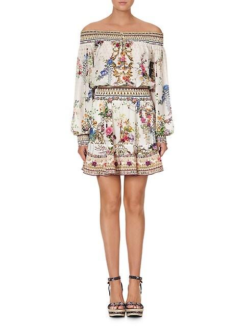 Off-The-Shoulder Floral Silk Dress