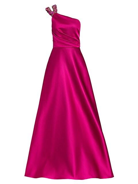 One-Shoulder Beaded Neckline Gown