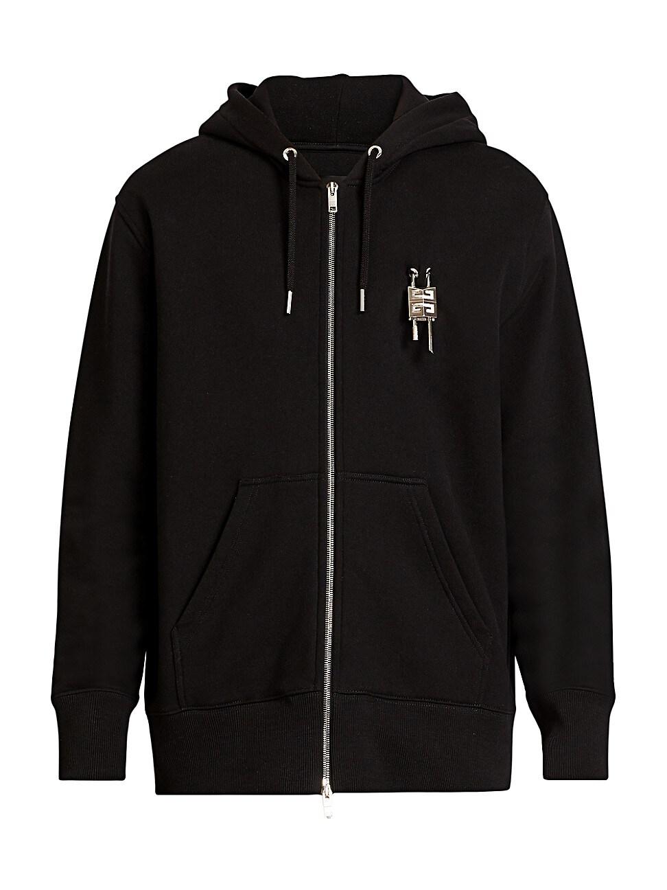Givenchy Hoodies MEN'S PADLOCK LOGO ZIP-UP HOODIE