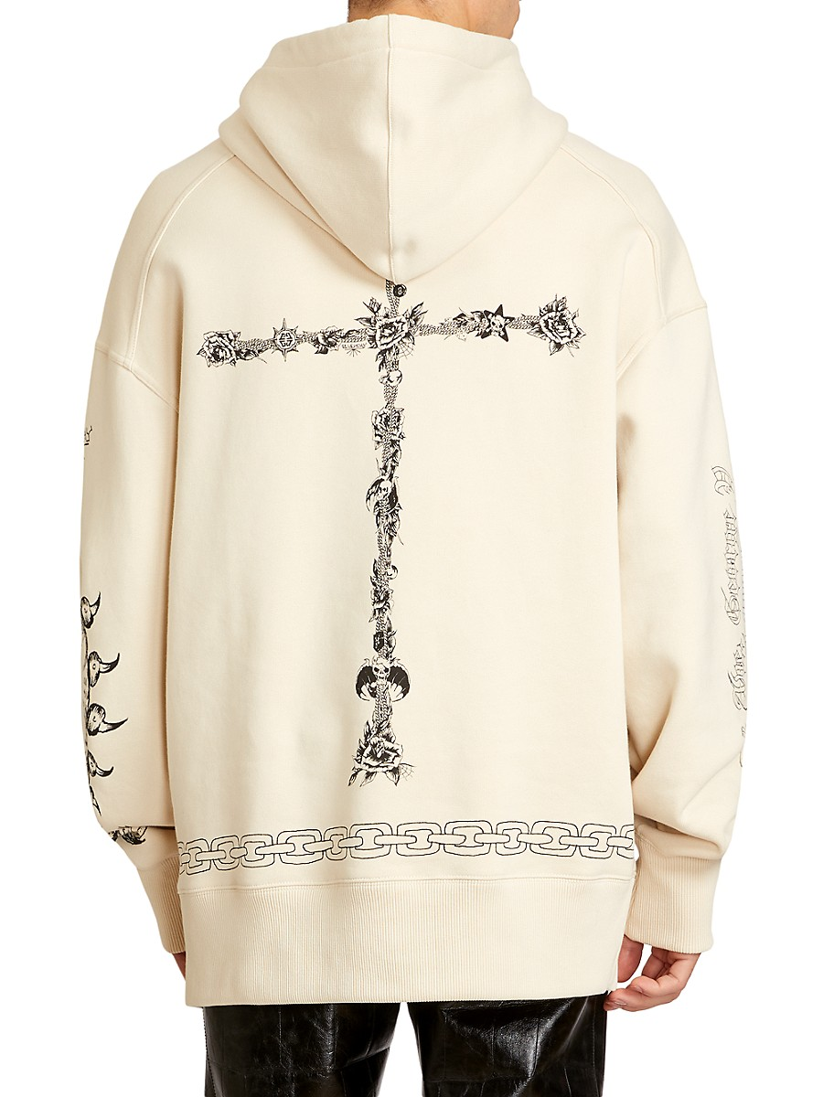 GIVENCHY Cottons MEN'S OVERSIZED TATTOO SHRINE HOODIE