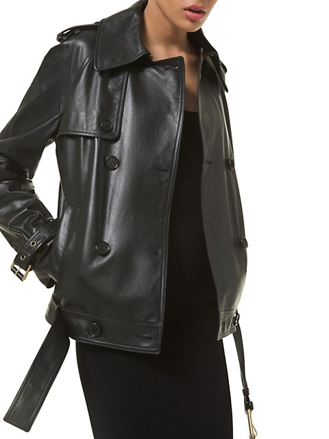 Silk Double-Breasted Trench Coat