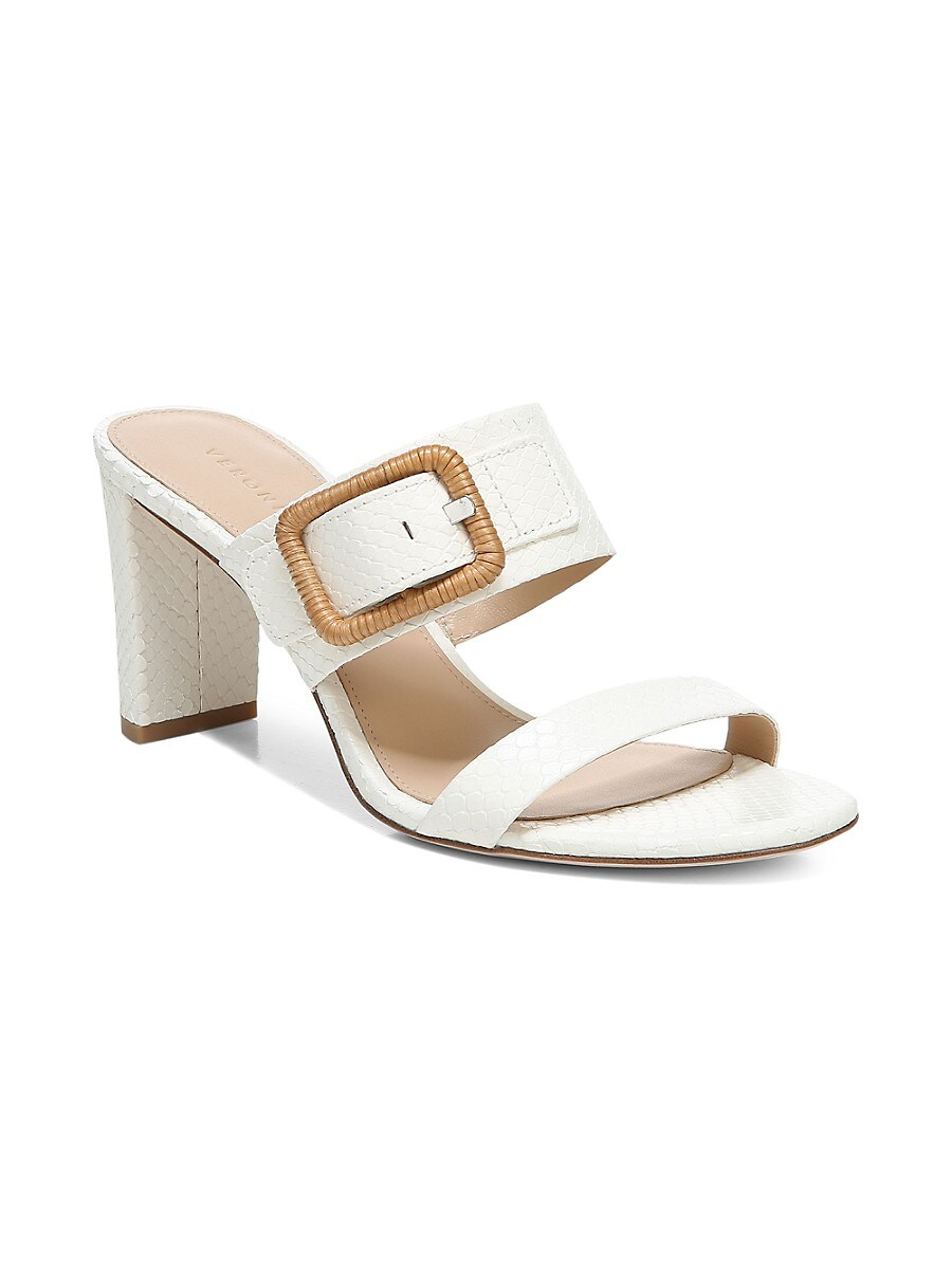VERONICA BEARD Leathers WOMEN'S GALOMA RAFFIA BUCKLE SNAKE-PRINT LEATHER SANDALS