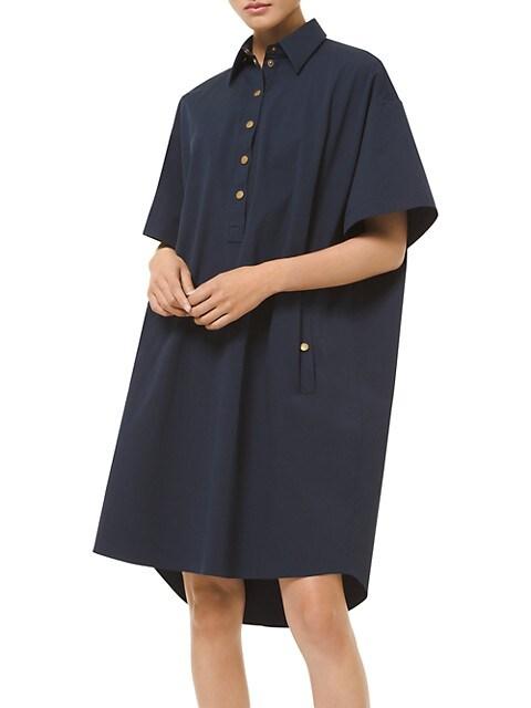 Snap-Front Cotton Shirtdress