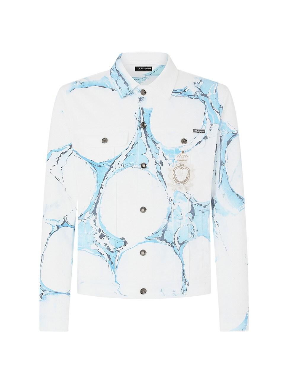 Dolce & Gabbana MEN'S BLEACHED PRINT DENIM JACKET