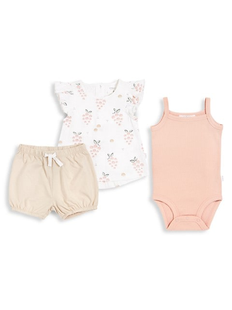 Baby Girl's Firsts 3-Piece Top, Bodysuit, & Shorts Set
