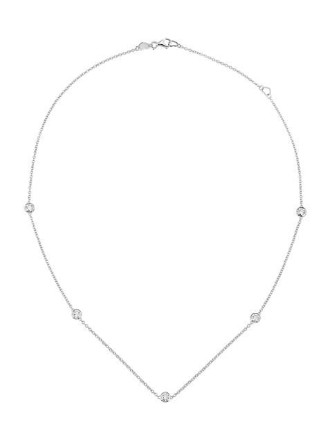 18K White Gold & Diamond Bezel Collar Necklace