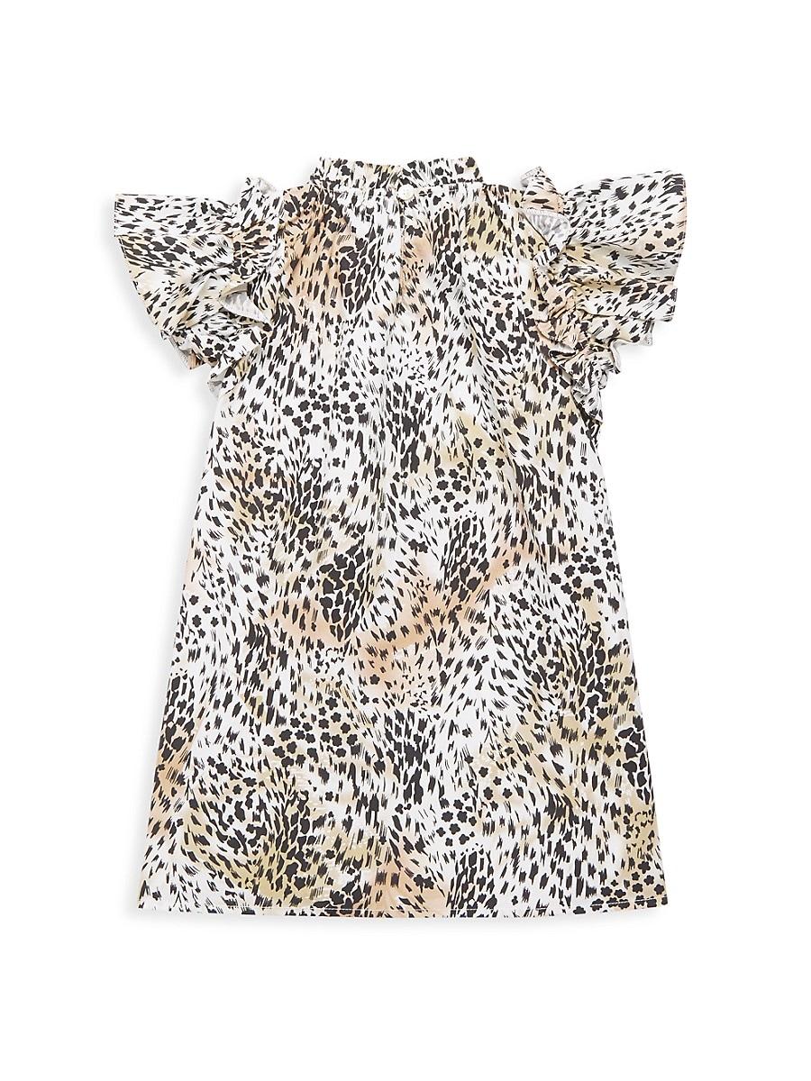 SEA Cottons LITTLE GIRL'S & GIRL'S LANA FLUTTER-SLEEVE LEOPARD SHIFT DRESS
