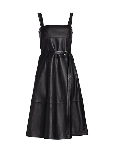 Lightweight Leather Sleeveless Belted Dress