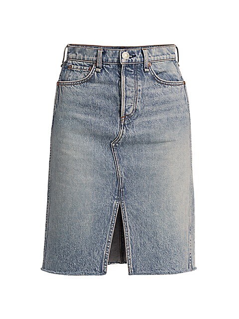 High-Rise Denim Midi Skirt