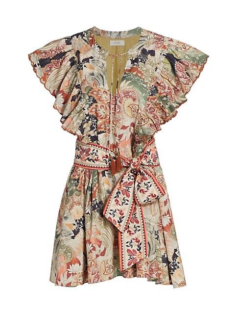 Myia Paisley Ruffled Mini Dress