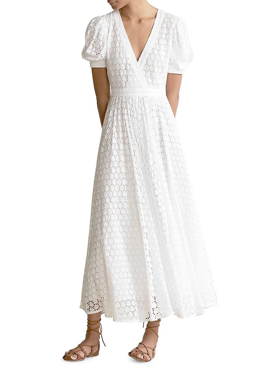 POLO RALPH LAUREN Cottons WOMEN'S LACE EYELET SHORT PUFF-SLEEVE A-LINE DRESS