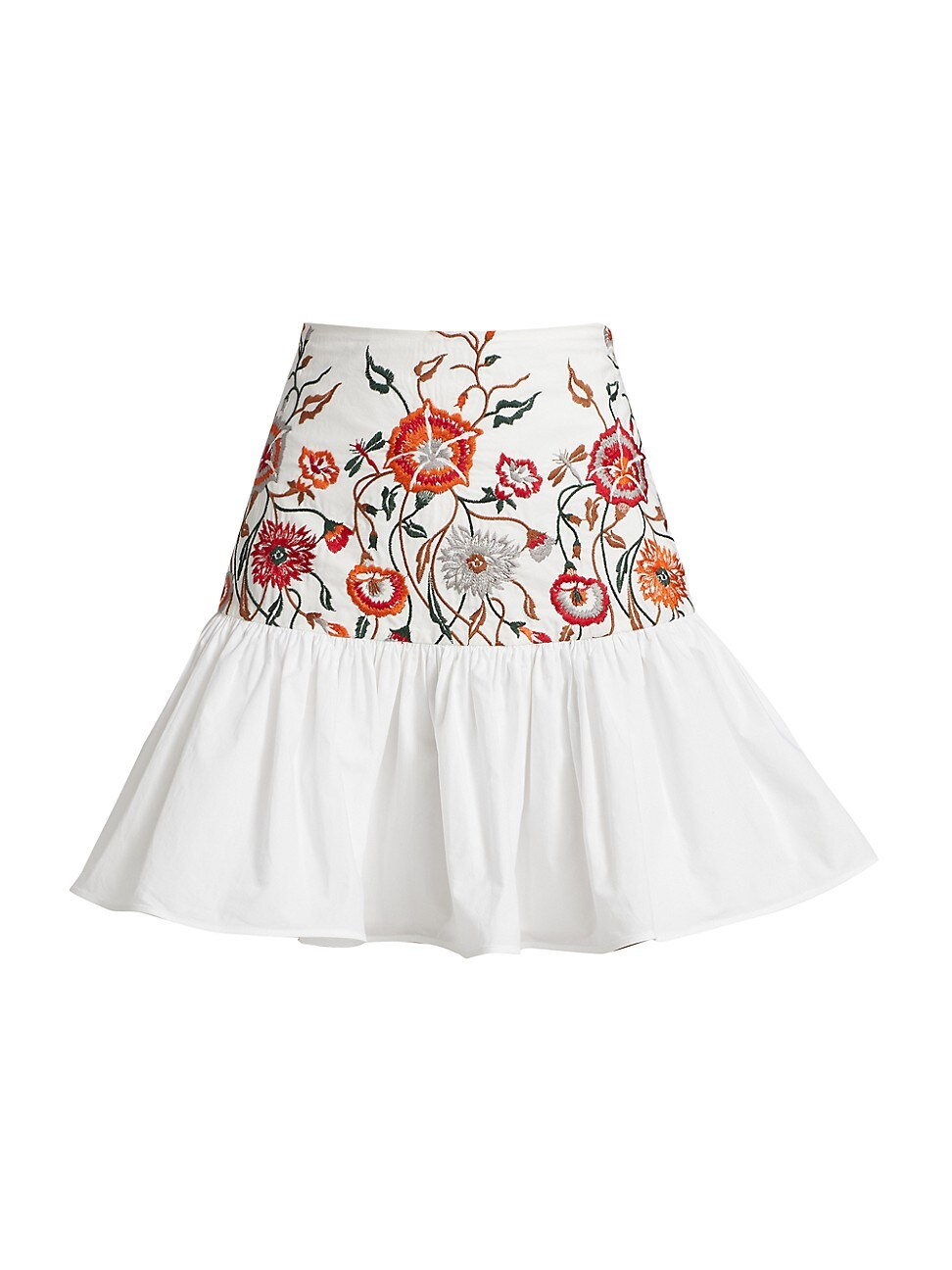 Silvia Tcherassi Cottons WOMEN'S BUCCAN FLORAL EMBROIDERED FLARE SKIRT