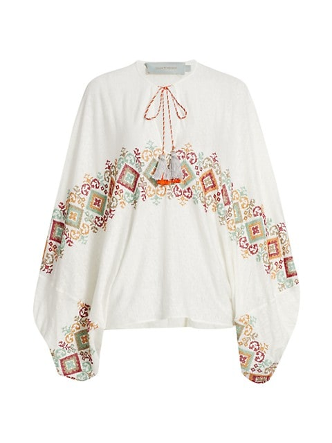 Geva Embroidered Tassel Blouse