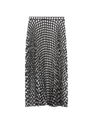 Theory Check Twill Pleated Midi Skirt