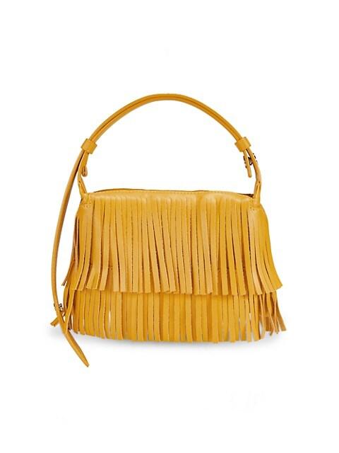 Simon Miller Sunshine Puffin Vegan Leather Shoulder Bag in Yolk Yellow Fringe
