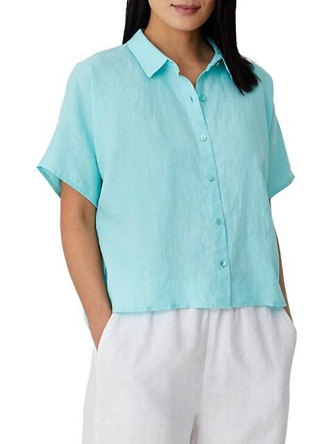 Organic Linen Collared Short-Sleeve Shirt