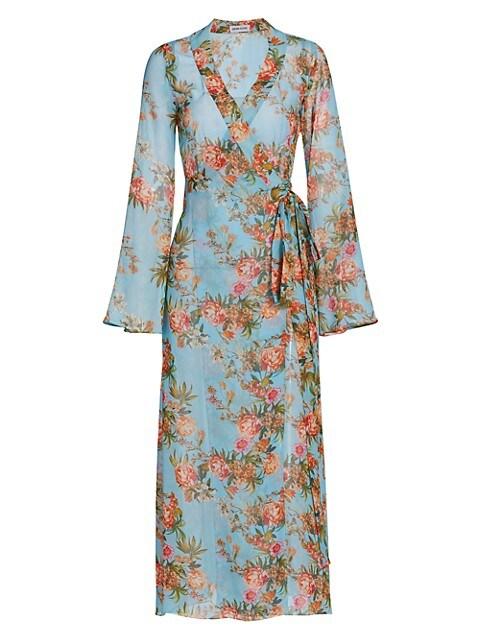 Alessandra Floral Silk Wrap Robe