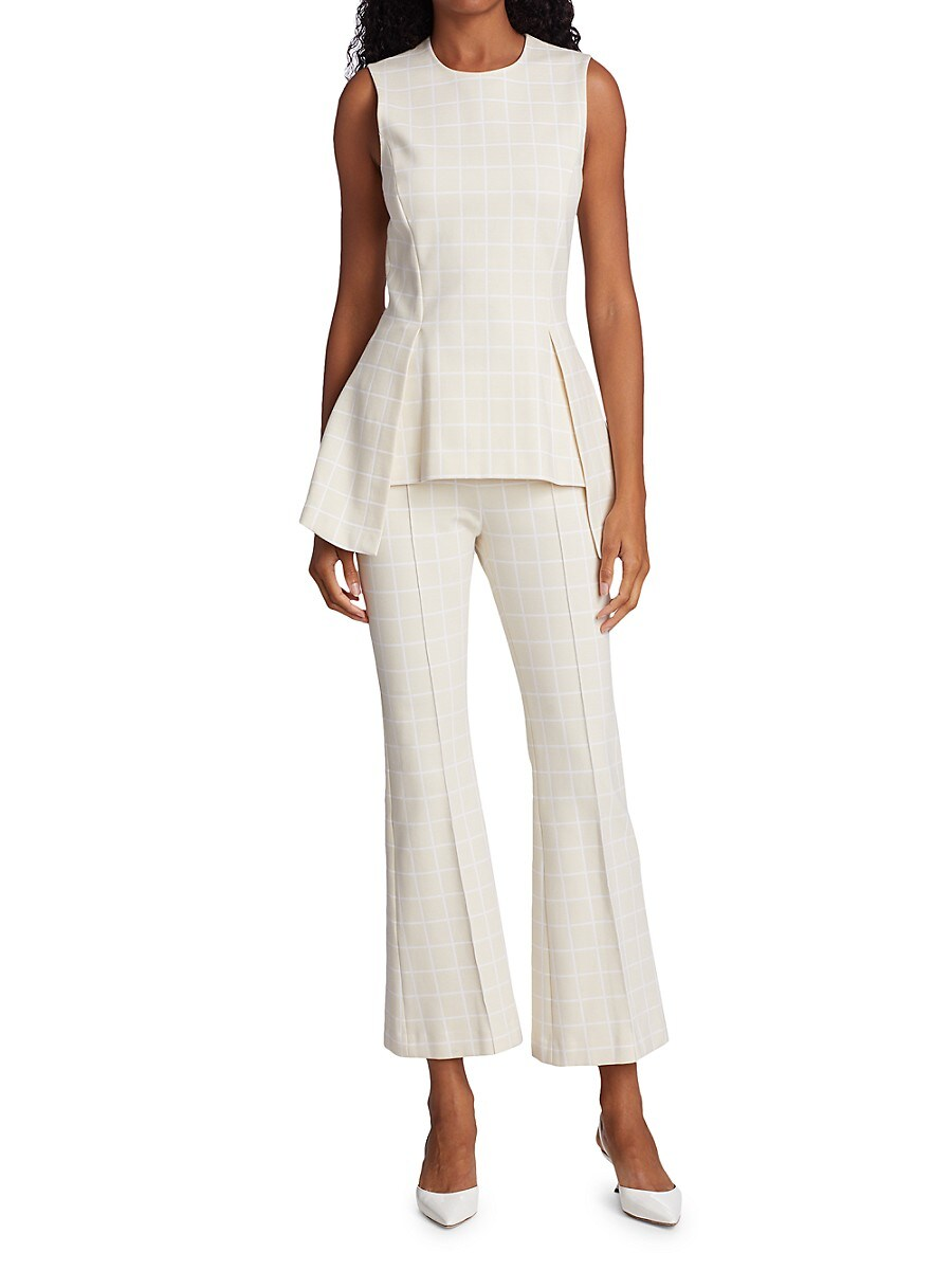 ROSETTA GETTY Cottons WOMEN'S WINDOWPANE CHECK PULL-ON CROPPED FLARE PANTS