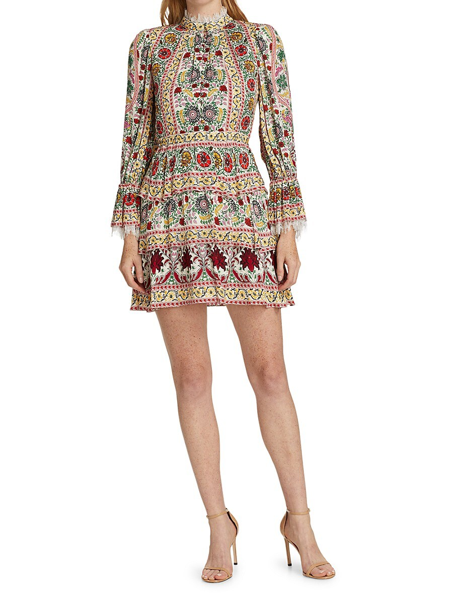ALICE AND OLIVIA Dresses WOMEN'S LAWSON FLORAL TIERED DRESS