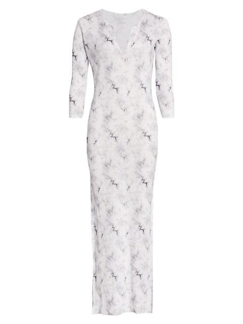 Cloud-Print Linen Maxi Dress