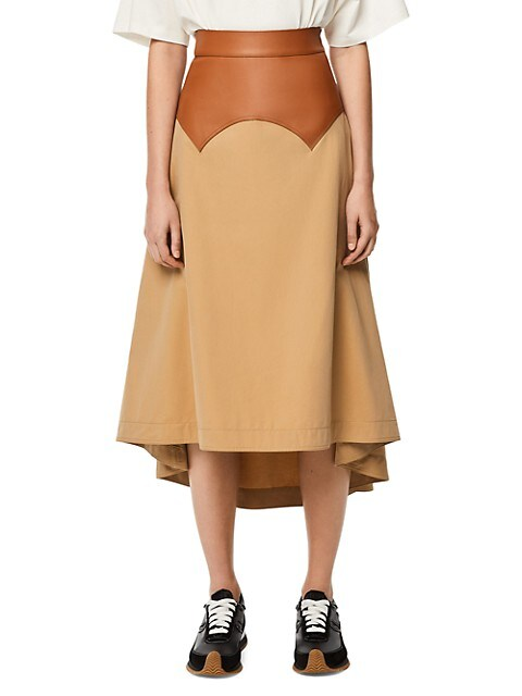 Obi Leather-Waist Skirt