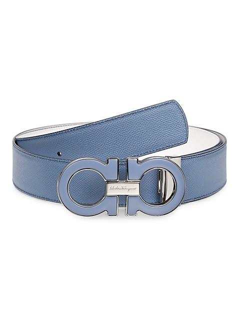 Adjustable Double Gancini Cut-To-Size Leather Belt