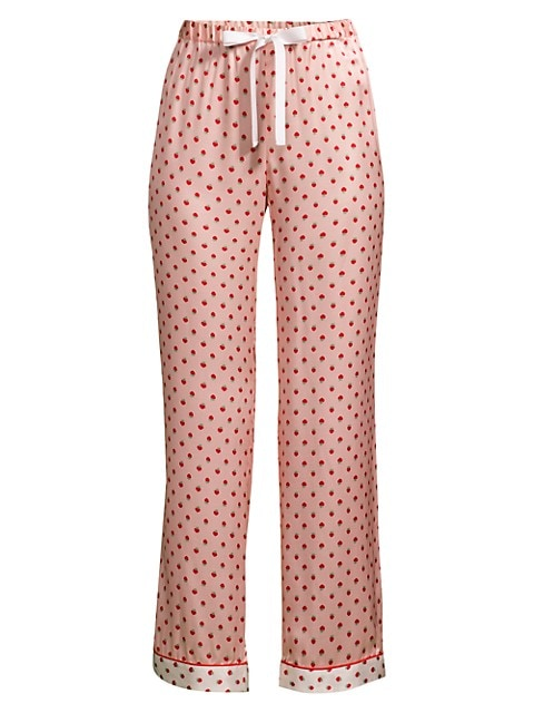 Chantal Strawberry Dot Silk-Satin Pajama Pants