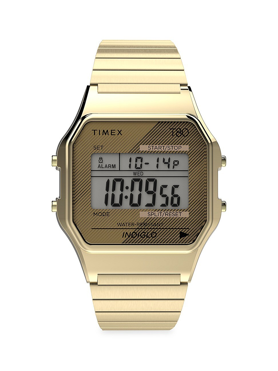 TIMEX MEN'S T80 DIGITAL STAINLESS STEEL EXPANSION BAND BRACELET WATCH