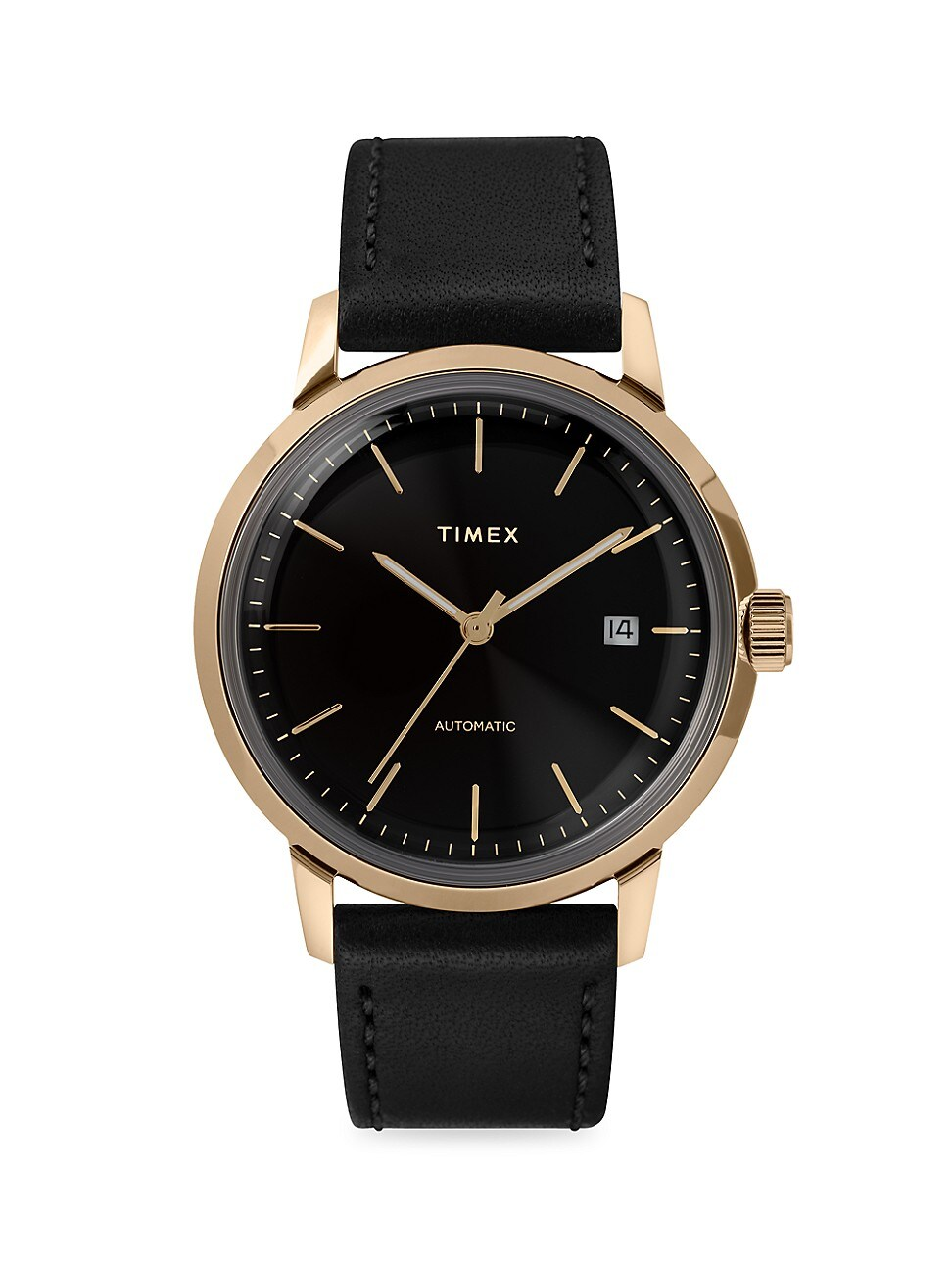 Timex Marlin Automatic 40mm Leather Strap Case Watch In Black