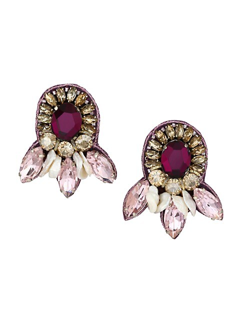 1-2MM Pearl, Crystal & Glass Bead Cluster Earrings
