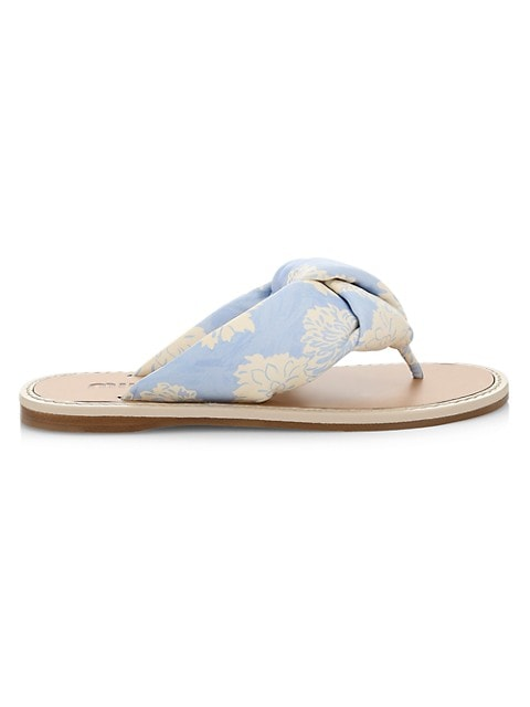 Floral-Print Leather Thong Sandals