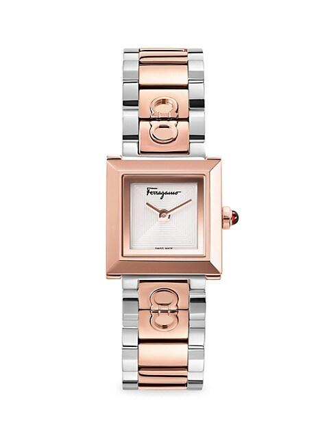 Two Tone Rose Goldtone & Silvertone Stainless Steel Bracelet Watch