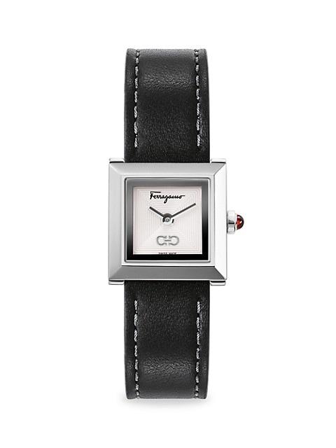Ferragamo Square Silvertonetone Leather-Strap Watch