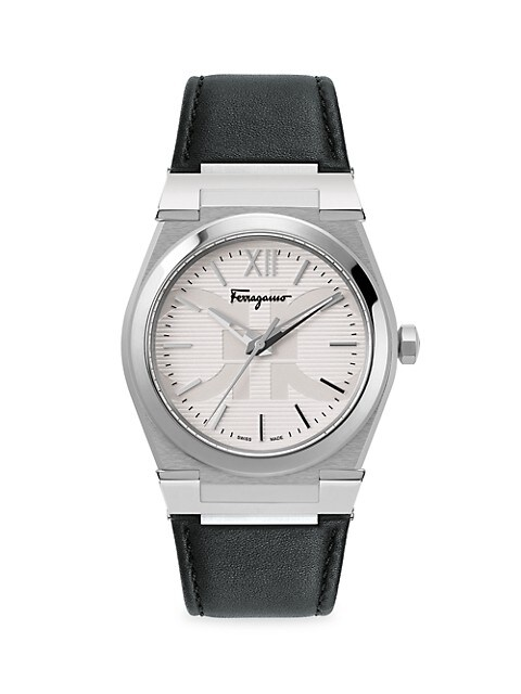 Vega Silvertone Stainless Steel Leather-Strap Watch