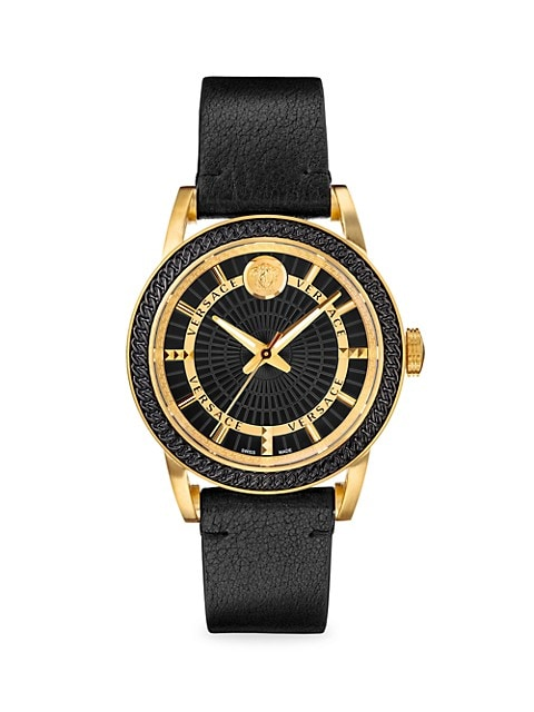 Versace Code Goldtone & Leather-Strap Watch