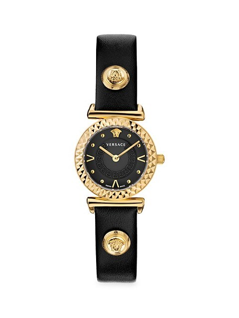 Mini Vanity Goldtone Stainless Steel & Leather-Strap Watch