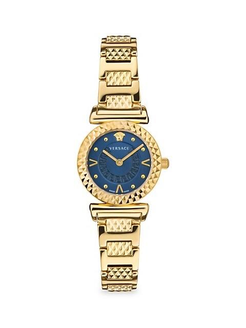 Mini Vanity Goldtone Stainless Steel Bracelet Watch