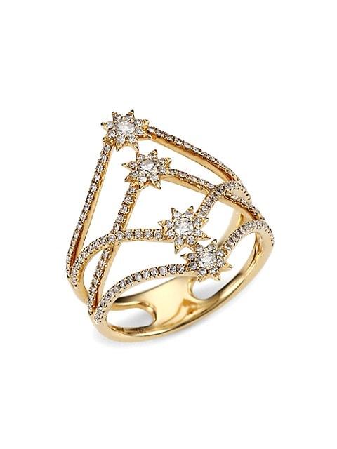 Emma 14K Yellow Gold & Diamond Star Cage Ring
