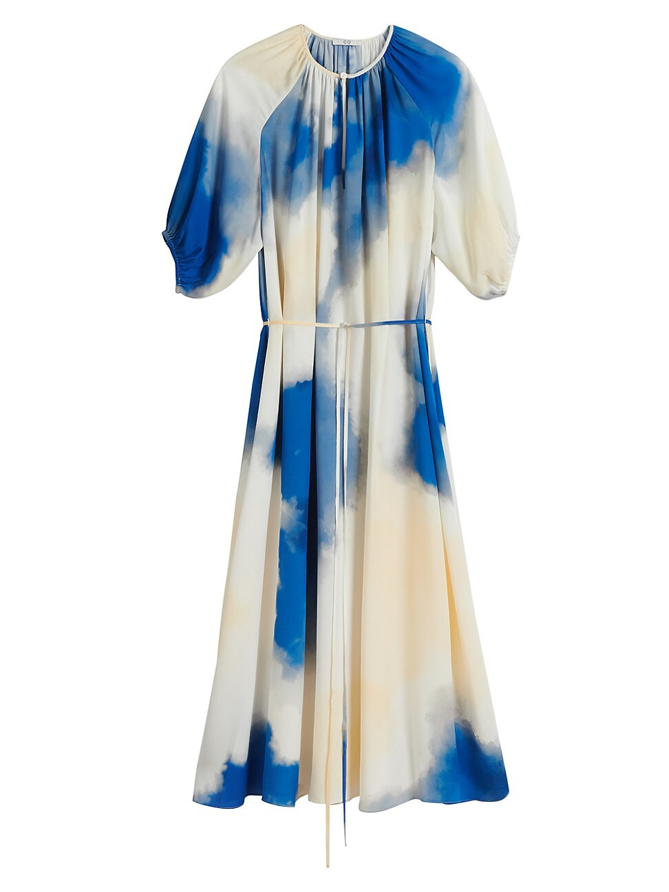 Co WOMEN'S GATHERED-SLEEVE SILK DRESS