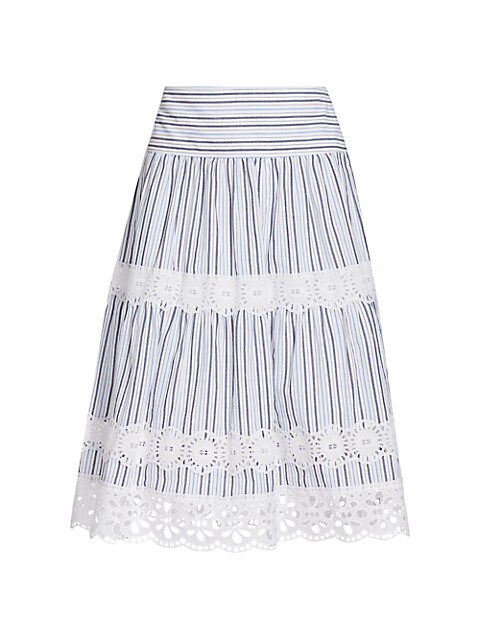Stripe Tiered Midi A-Line Skirt