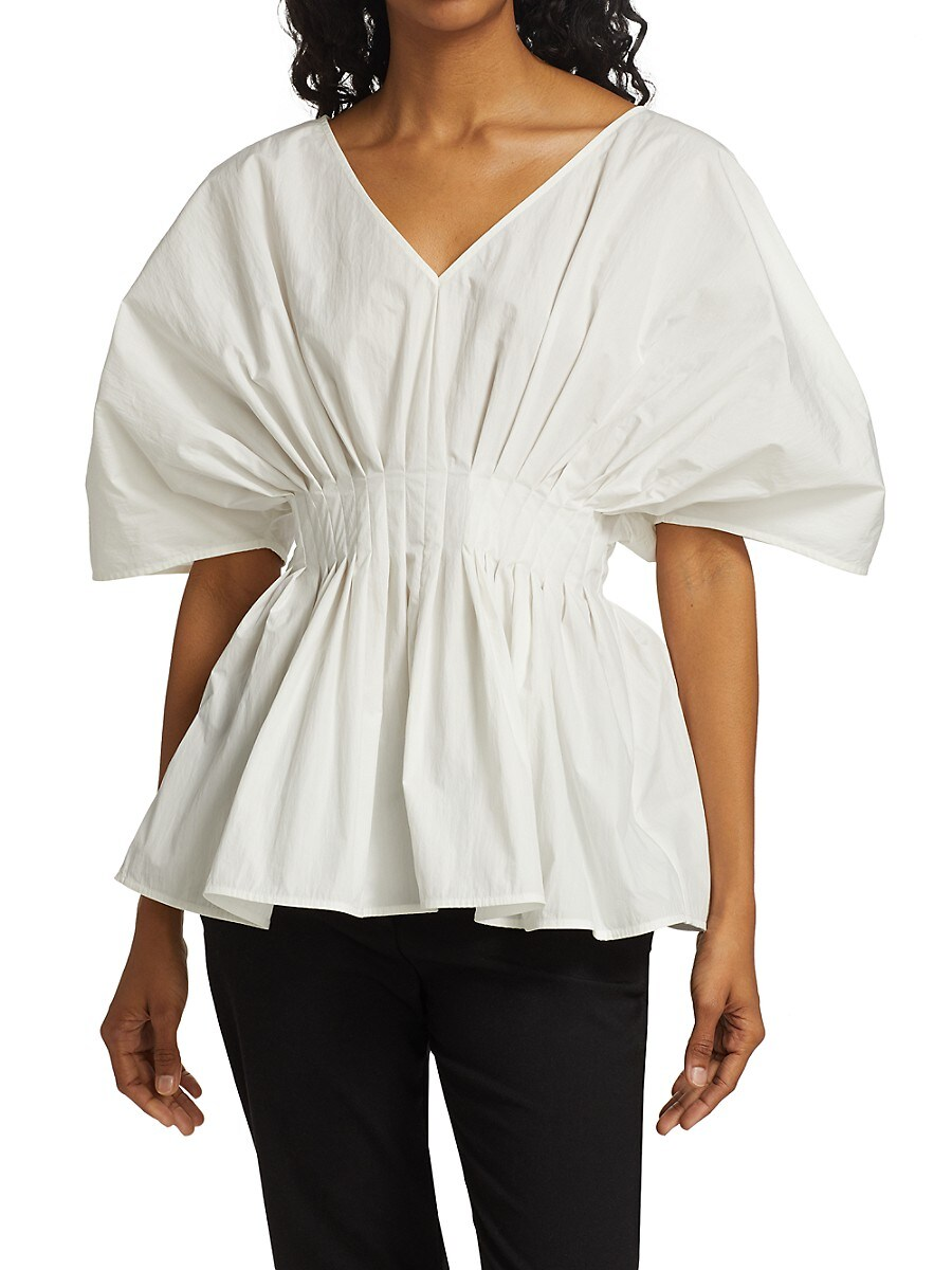 CO Cottons WOMEN'S TUCKED WAIST V-NECK PUFF-SLEEVE BLOUSE