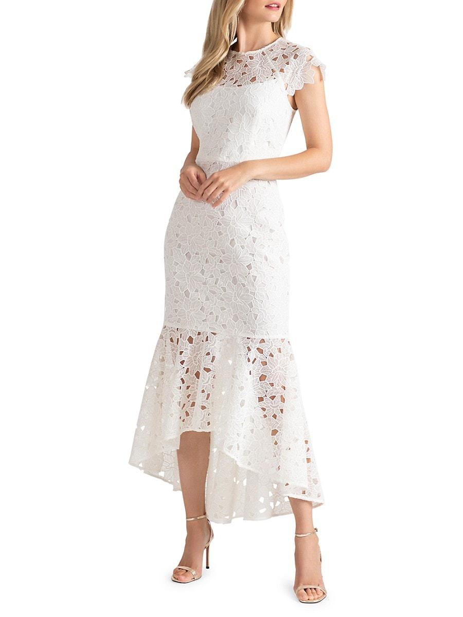 SHOSHANNA Linings WOMEN'S MINA LACE FLOUNCE DRESS