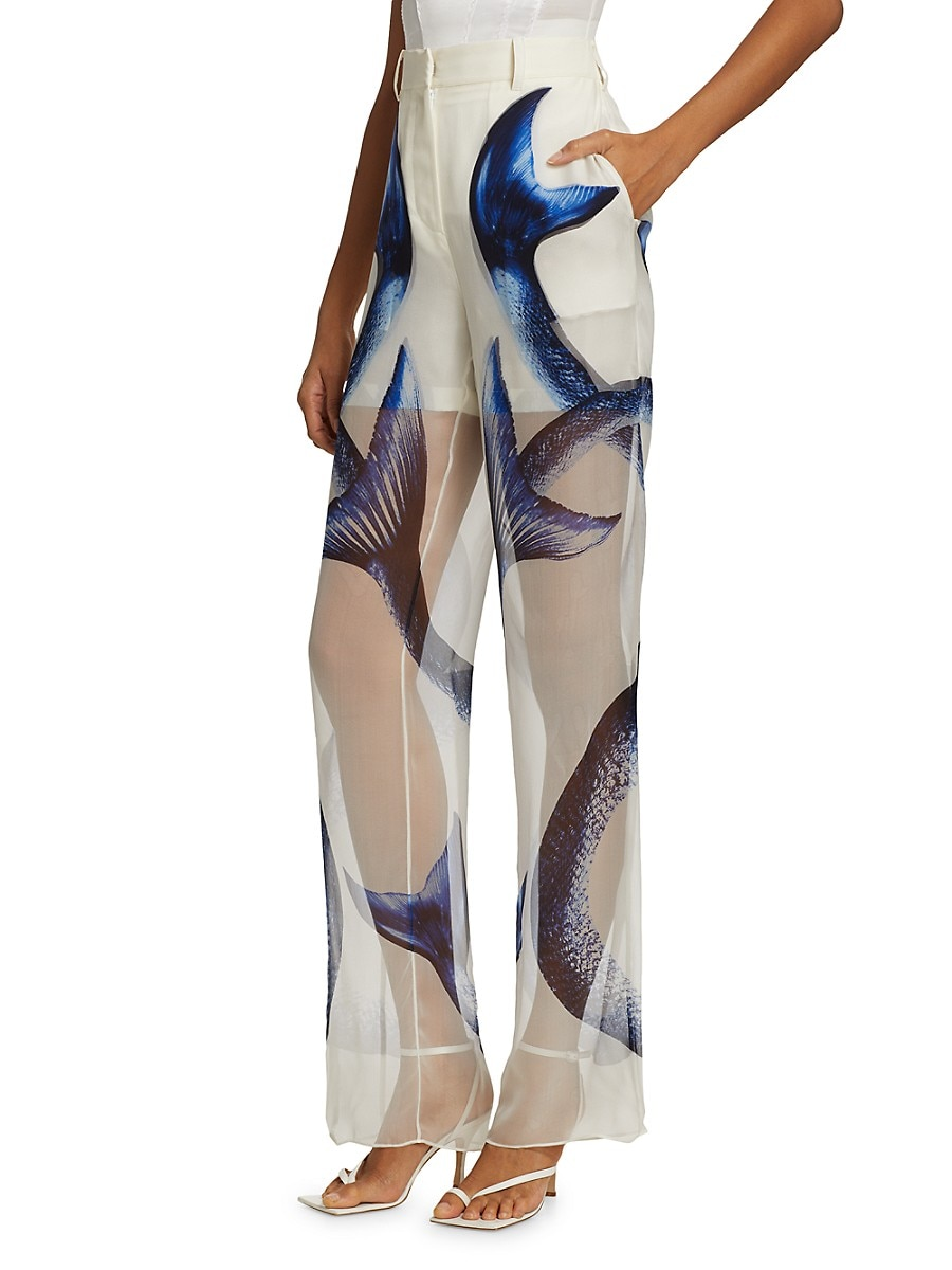 BURBERRY Silks WOMEN'S DOUBLE LAYER PRINTED SILK TROUSERS