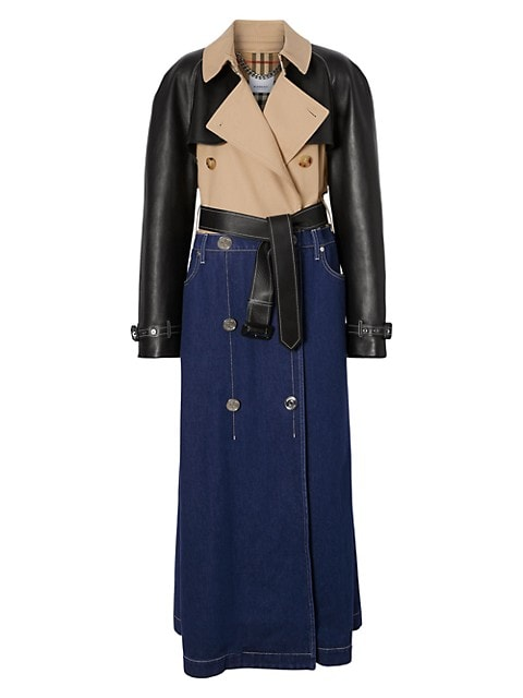 Leather-Sleeve Mixed Denim Trench Coat