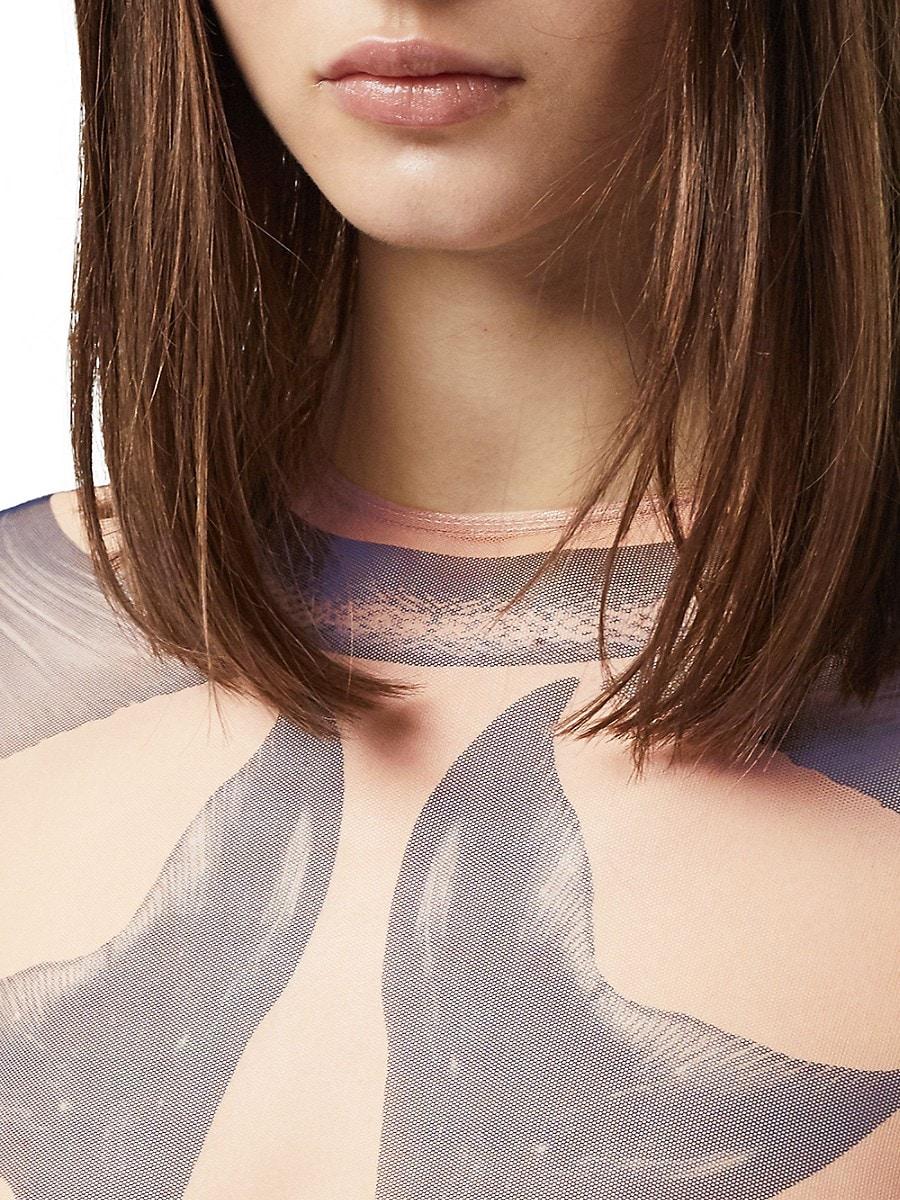 BURBERRY Linings WOMEN'S MERMAID PRINTED MESH BODYSUIT