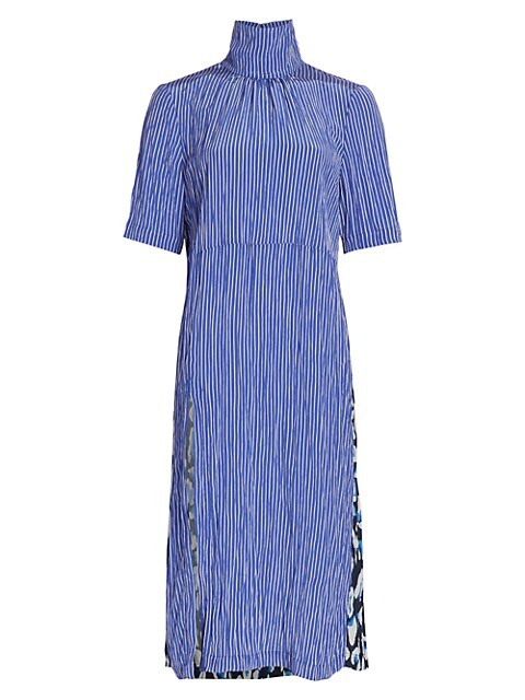 Angie High-Neck Stripe Side Slit A-Line Dress