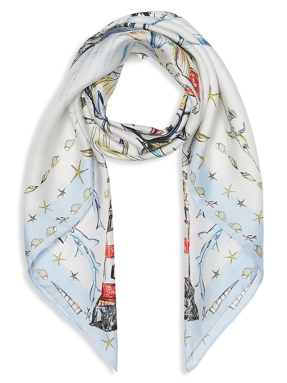 Burberry Scarves WOMEN'S MARINE SKETCH PRINT SILK SCARF