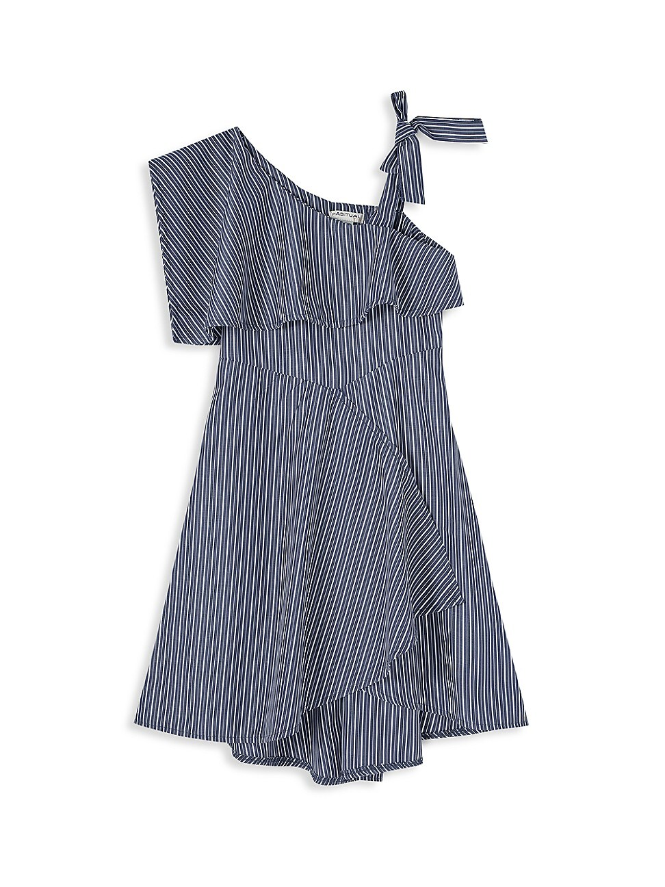 Habitual LITTLE GIRL'S ONE-SHOULDER STRIPED HIGH-LOW DRESS