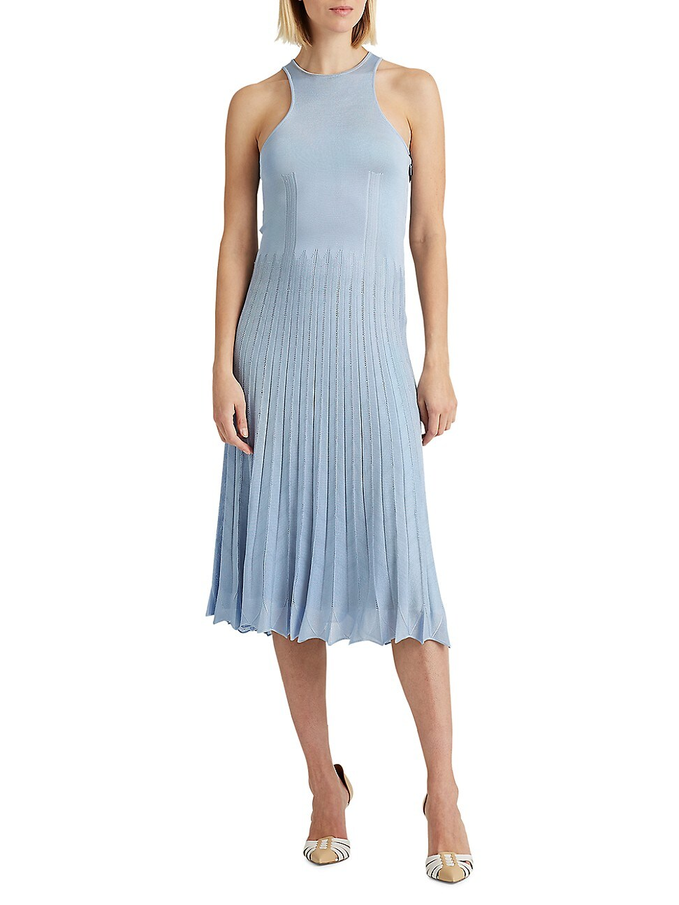 Ralph Lauren WOMEN'S PLEATED POINTELLE SWEATER DAY DRESS