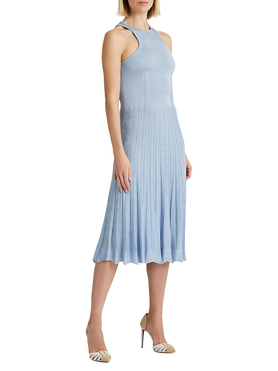 RALPH LAUREN Linings WOMEN'S PLEATED POINTELLE SWEATER DAY DRESS